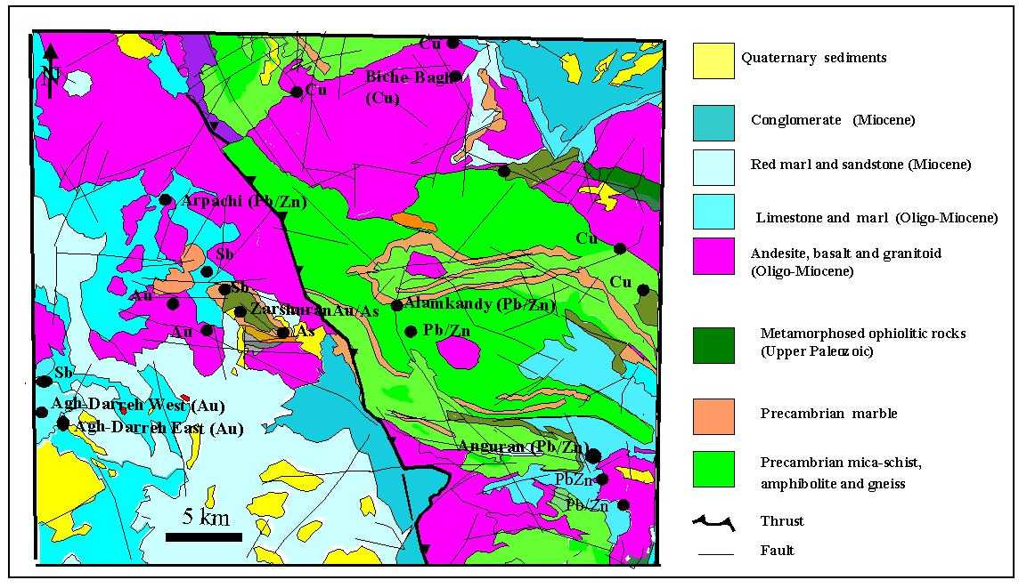 figure 1 geological map of takab area