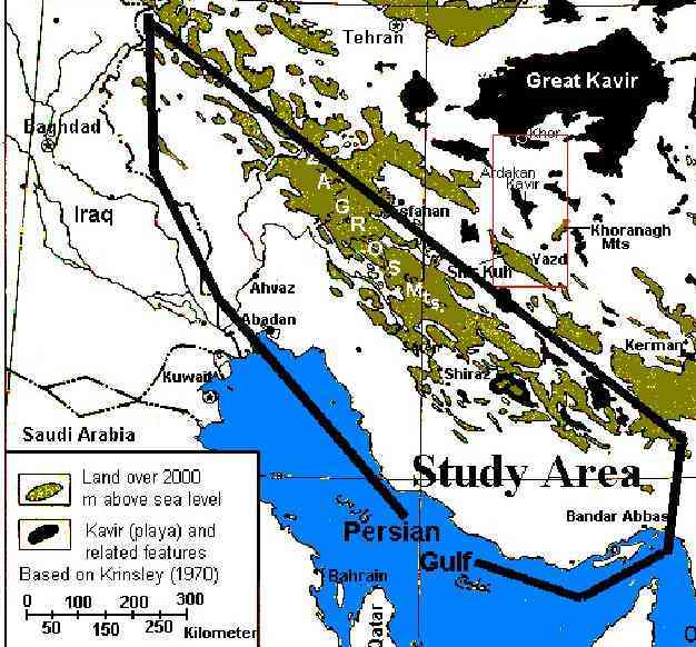 The study area within the Zagros Ranges physiographic zone (Mehrshahi,